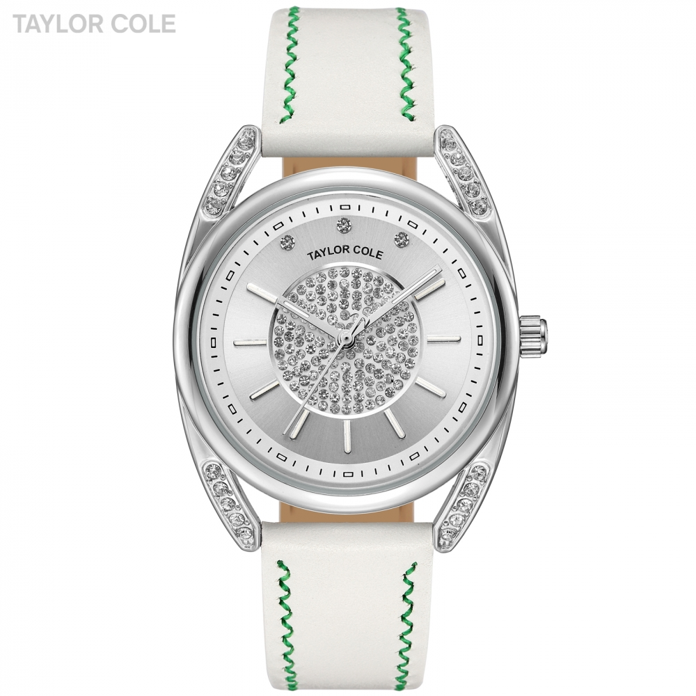 Taylor Cole New Design Women Watches Silver Crystal Case Watches White Leather Strap Emontre Femme Elegant Quartz Watch / TC137<br>