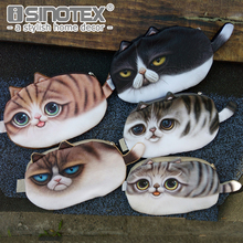 Fashion Coin Purses Wallet Ladies 3D Cats Cute Face Animal Big Face Change Fashion Cute Small Zipper bag for Women Change Purse