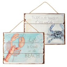 New Arrival Vintage Wood Sign Plaque Bar Cafe Home Bedroom Store Dormitory Wall Hanging Art Picture Lobster Crab Decor
