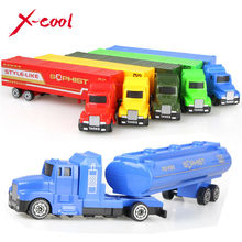 2 types Diecast Alloy and Plastic Truck Toy Model Car Container Truck oil tank truck Christmas Birthday Gift  for kids