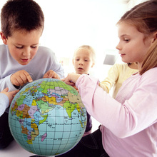 "2PCS 14"" Inflatable Globe Ball Baby Early Educational Teaching Tool Inflated Beach Ball Kids Learning Geography World Map"