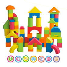 New Fun 50pcs EVA Safe Colorful Children Building Brick Block Foam Construction Soft Toy Zip Case For Kids Intelligence Exercise(China)