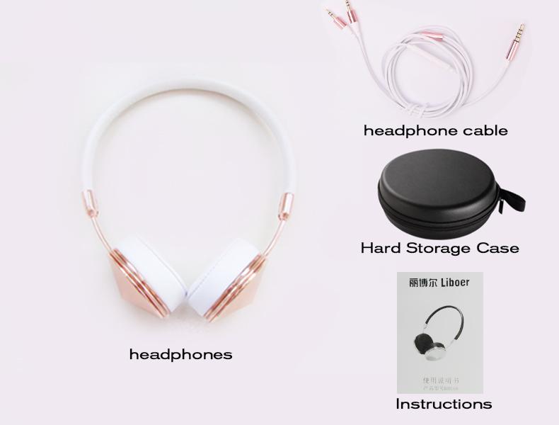Liboer Beautiful Headphones Dynamic Headband Rose Gold Headphones with Mic Wired Headset for Mobile Phone On-ear Headphone 11