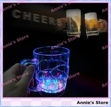 Wholesale LED BEER MUG, LED flashing beer cup, bottle, fancy light glass, color changing, middle size