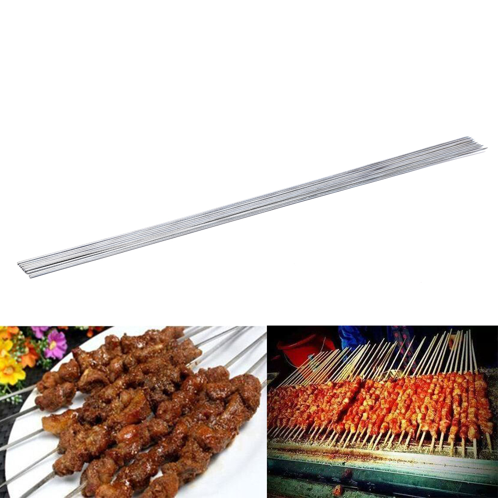 50Pc Stainless Steel Barbecue BBQ Skewers Needle Kebab Kabob Sticks Outdoor 35CM