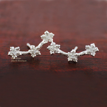 Sterling Silver CZ Plum Blossom Flower Climber Post Stud Earrings A1204
