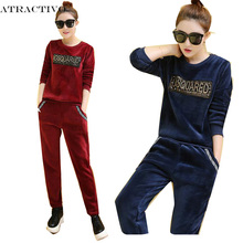 Women Winter Suits Velvet Tracksuits Print Letter Hoodies Tops Long Pants Flannel Sporting Suits 2pc Set For Female Plus Size