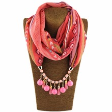 2017 Hot Selling chiffon spring and autumn leather tassel beads Pendant Scarves Necklace for Women WF06