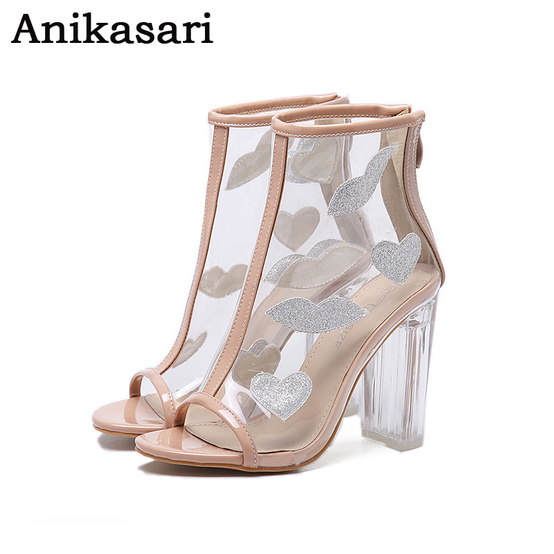 2017 New Women ankle Boots Spring Summer Boots Clear Peep Toe Sexy High Heel Sandals Crystal Transparent Shoes Woman<br>