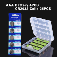 YCDC Set Sale AA/HR6 AAA/LR3 Ni-MH Rechargeable Battery Multi-purpose Power Sources+25Pcs CR2032 Cell Ni-MH  watch battery