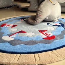 European Mediterranean sailboat round carpet personalized living room coffee table bedside basket computer chair blanket mat(China)