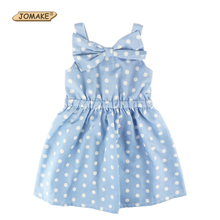 Polka Dot Big Bow Baby Girl Dress Sleeveless Princess Party Beach Girls Dresses Summer 2017 Girls Clothes Toddler Girl Clothing
