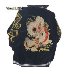 Harajuku 2017 Punk Japanese Yokosuka Embroidery Dragon Zipper Bomber Baseball Jacket Lovers Jacket