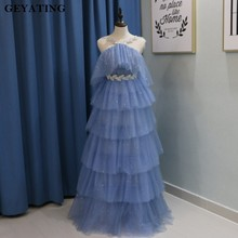 Bling Bling Blue Sequins Long Prom Dresses 2018 Crystal Halter Off Shoulder Cascading Ruffles Special Occasion Dress Party Gowns(China)