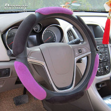 "Winter Suede Steering Cover Fit Wheel 14""-15""/38CM & Red Orange Blue Purple Car Steering Wheel Cover Women Girl Car Accessories"