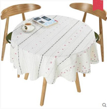 Pastoral PVC Round Table Cloth Waterproof Oilproof Floral Printed Lace Tablecloths Plastic Table Covers Anti Hot Coffee Placemat