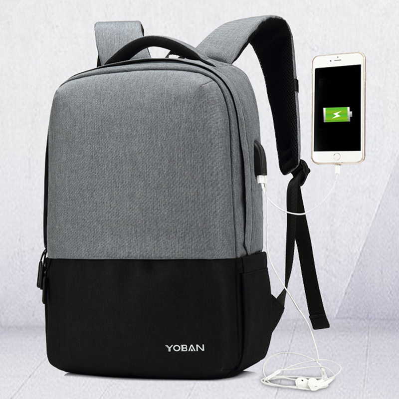 Coofit Hit Color Unisex Backpack Men Casual Anti Theft Bagpack With USB Charging Port Oxford 15 Laptop Bagpack For Boy Girl Teen<br>