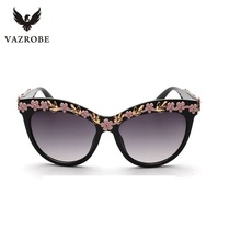 Vazrobe Baroque Flower Women's Sunglasses Brand Large Sun Glasses for Female Summer Beach Ladies Shades UV400 Fashion Goggles