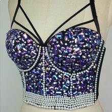 High Quality Handmade Sexy Strip Night Club Bra Top Crystal Rhinestone Embroidered Tank Top Jeweled Pearl Bustier Cropped Top