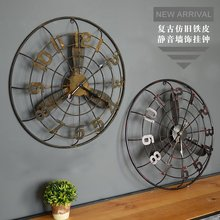 New Loft Industrial Electric Fan Model Decorative Wall Clock Bar Cafe Shop Wall Mural Decorations Home Decoration Accessories(China)