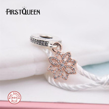 FirstQueen Flower Leaf Charm 14k Rose Gold Colour Bead Fit Bracelet Argent 925 Christmas Charm Fine Jewelry(China)
