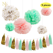 Nicro9 Pcs/Lot Mint Green Paper Flowers Paper Fresh Pink Gold Dot Tassel Garland DIY Gender Reveal Party Decorative supplies.(China)