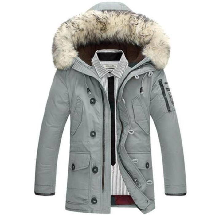 VORELOCE brand clothing men's casual down jacket 2018 winter thick warm hooded down jacket gray black beige orange