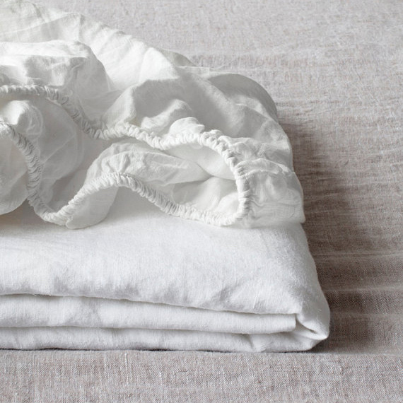 Bon 100% Linen Fitted Sheet Stone Washed Pure Linen 1Pcs For Twin Full Queen  King Size