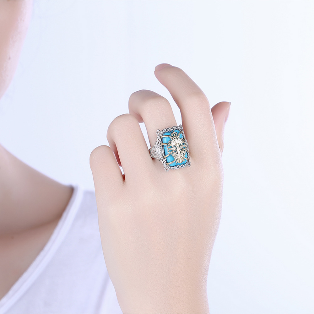 Stunning Natural Stone 925 Silver Turquoise With Golden Flower