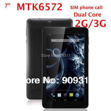 7inch Phone call tablet PC MTK6572 1024*600 3G SIM GPS Dual cameras Unlocked Bluetooth with Flashlight