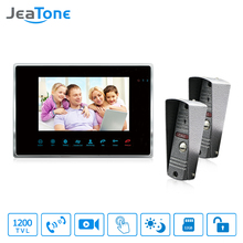 JeaTone NEW 7 inch Touch Button Video door phone intercom system 1 monitor +1200TVL COMS Camera for home(China)