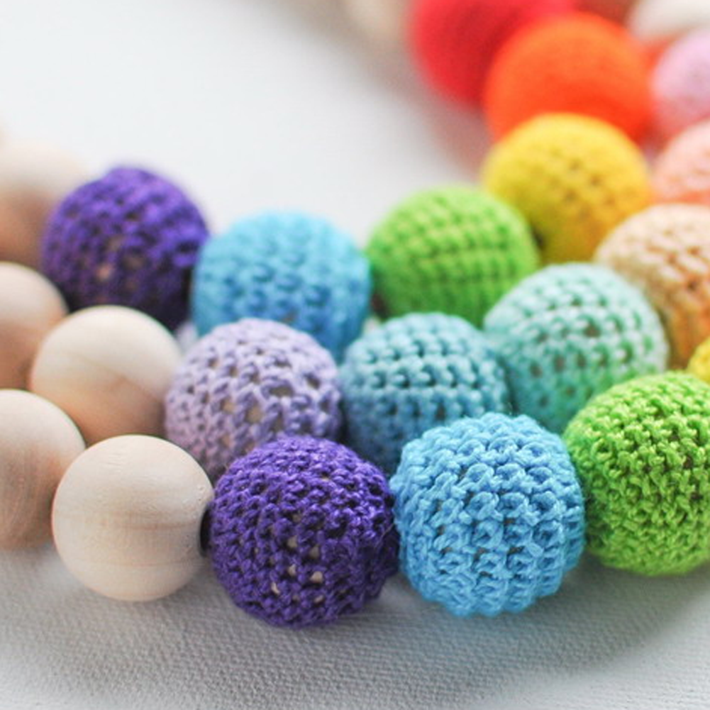 18mm Coffee Purple Light Blue Knitted Wood Beads Accessories For Bracelets Necklaces Color Random