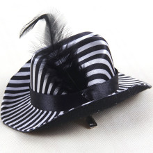 12.5 * 11 * 7cm Black and White Striped Small Hat Pet Hat Hair Ornaments 2017 1PCS shipping Delivery