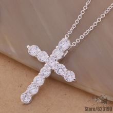 AN296 silver plated  Necklace  silver fashion jewelry pendant ablaze cross /belajvsa cqxaliea
