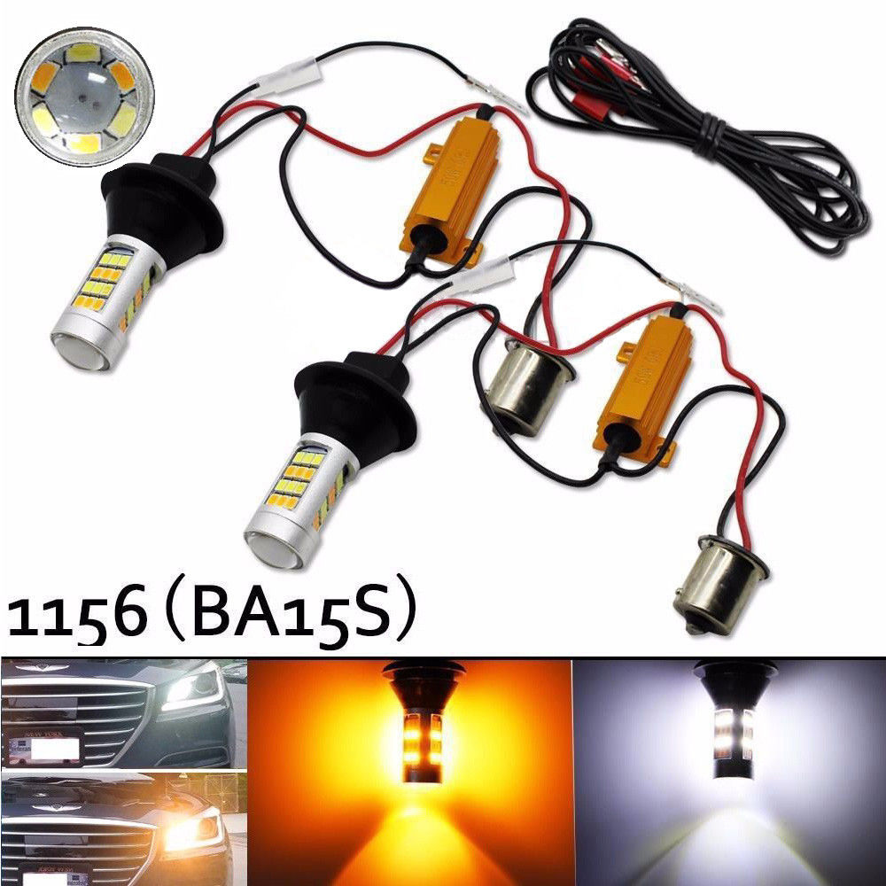 Free Shipping 2X 1156 BA15S 2835 42SMD P21W S25 White/Amber 30W LED Bulb Turn Signal Lights Dual Color Error Free Canbus Bulb<br><br>Aliexpress