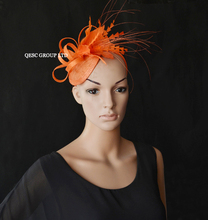 NEW Orange  champagne goldsinamay fascinator feather  Fascinator for Royal Ascot Derby Kentucky Hat Wedding.FREE SHIPPING.