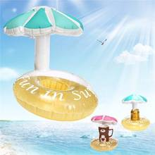 Mini water Coaster boia umbrella inflatable cup holder floating pool drink float toy cup sand seat yeti Water Bottle Accessories(China)