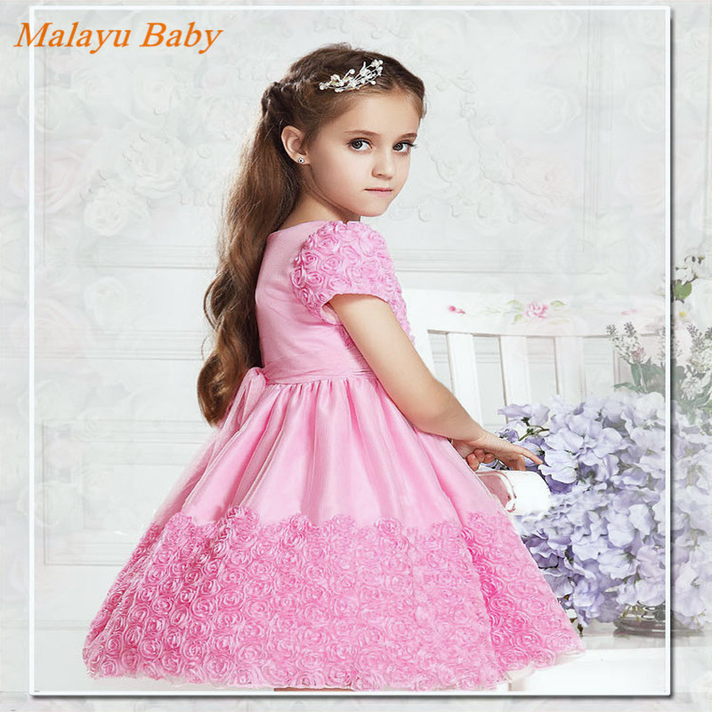 Malayu Baby 2017 Europe and the new pink dress pretty girl with red roses decorated tutu belt, festive banquet evening dress<br><br>Aliexpress