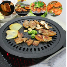 Black Korean Style Barbeque Pan Easy Hand-wash Non-stick BBQ Plate Cooking Pan Meat Grill Outdoor Home Kitchen Cooking Tools