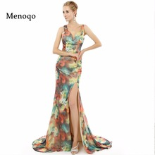 2017 Real Photo Special occasion Formal Prom Dresses long Mermaid Side Split Flower Pattern Floral Print Chiffon Evening Dress(China)