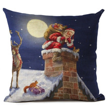 "18"" Merry Christmas Series Pillow Cover Printing Throw Pillow Pillowcase (Santa Claus on the chimney)"