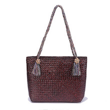 Thai version of grass shoulder bag European and American style beach bag natural environmental woven knitted bag
