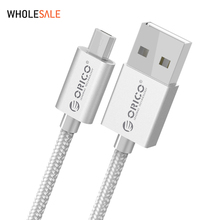 [Wholesale] ORICO USB Data Charger Cable Nylon Braided Wire Metal Plug Micro USB Cable for Samsung Sony HTC 1 Meter Silver(China)