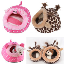 Cute Hamster Beds Cages Squirrel Bird Ferret Rabbit Hammock Warm Winter Swing Rat Beds Pet Small Hanging Bed Nest House(China)