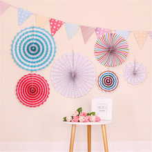 New Hot Kids Birthday Prop Round Foldable Paper Fan + Triangular Flag Banner Party Background Decoration SMD66(China)