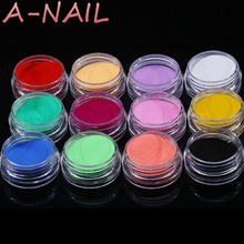 Hot AliExpress 12 Colors Acrylic Powder Manicure Tips Nail Art 3D Decoration Builder Polymer Free Shipping(China)