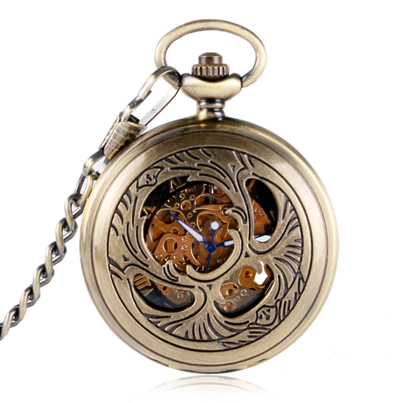 Vintage Elegant Skeleton Flower Design Pocket Watch Women Men Unisex Roman Numerals Mechanical Hand-winding Necklace Gift P2018C<br><br>Aliexpress
