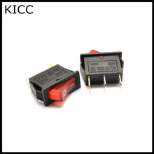 10*28MM Rocker Switch Red With lamp 220V KCD3-102N 3Pin 2File Seesaw switch Power switch 5Pcs