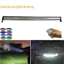 "Curved 50"" 288W LED offroad Light Bar with RGB chasing halo ring  72 modes by remote controlled  for Toyota/PickUp/Truck camper"