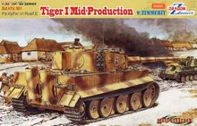 DRAGON 6700  1/35 Scale  WWII German Sd.Kfz.181 Pz.Kpfw.VI Rusf.E Tiger I MidProduction W/ZIMMERIT Plastic Model Building Kit